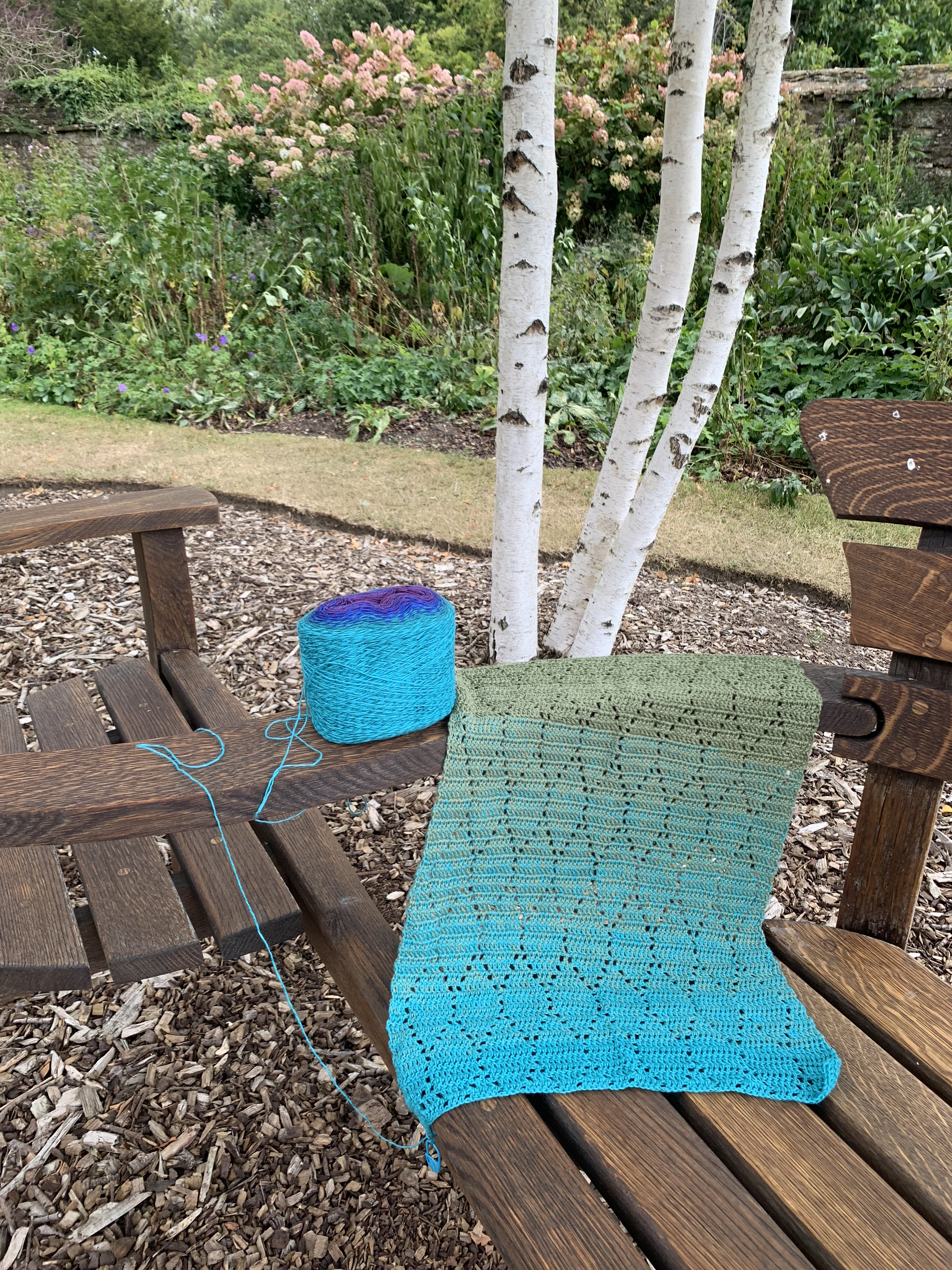 Scarf and yarn on the arm of a bench with a the trunk of a birch tree and flowers in the background.